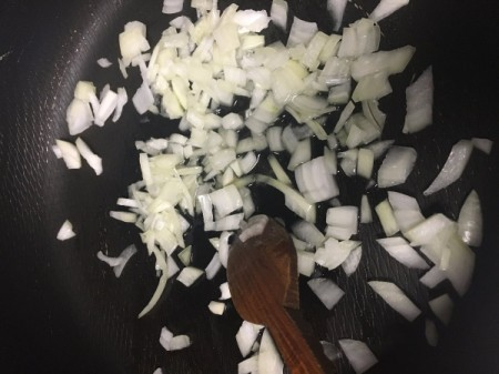 chopped onions in pan
