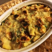 Savory Bread Pudding ready to serve