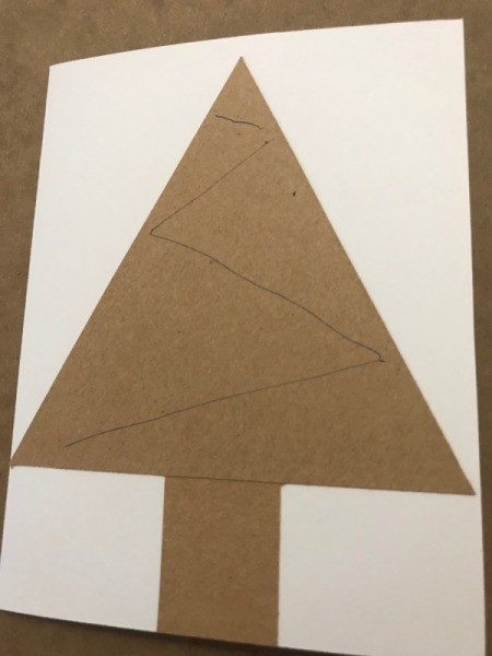 Christmas Tree Card - glue lines for kids