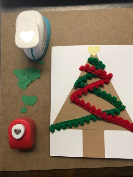 Christmas Tree Card - make ornaments and tree topper with hole punches