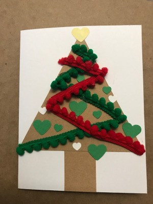 Christmas Tree Card - add ornaments and topper to card