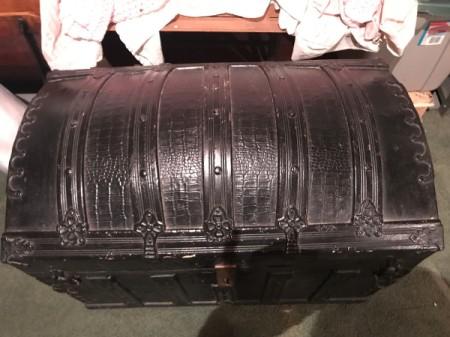 Value of Vintage Black Humpback Steamer Trunk