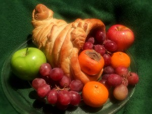 Beautiful Cornucopia Bread filled with fruit