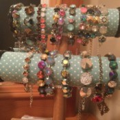 Handmade Jewelry Business Name Ideas - two tier bracelet display with samples