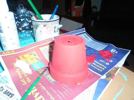 Gumball Machine Ornament - paint clay pot red and let dry