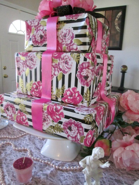 Recycled Boxes as Festive Centerpieces - floral stack