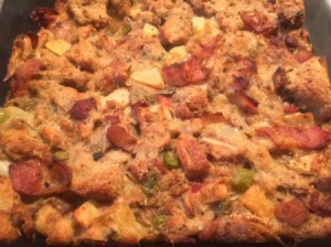 finished Bacon Apple Stuffing