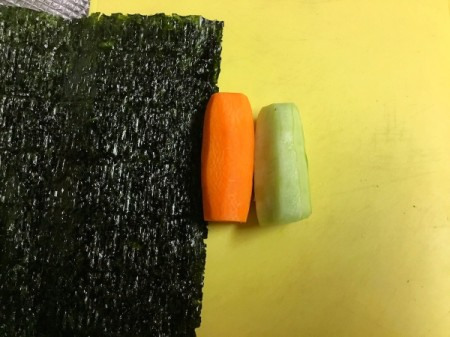nori, with peeled carrot and cucumber