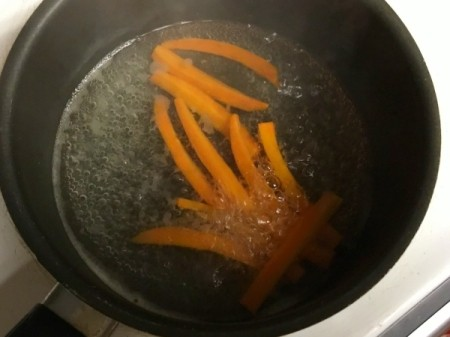 cooking carrot strips