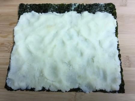 Mashed Potato spread on nori