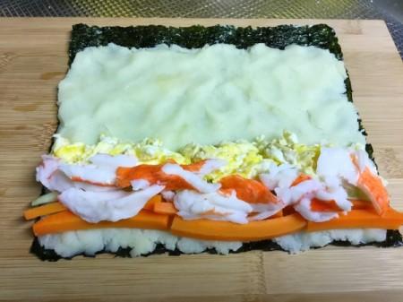 ingredients spread on nori