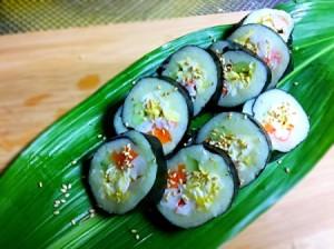 Mashed Potato Sushi served on banana leaf