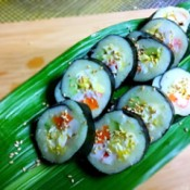 Mashed Potato Sushi served on banana leaf