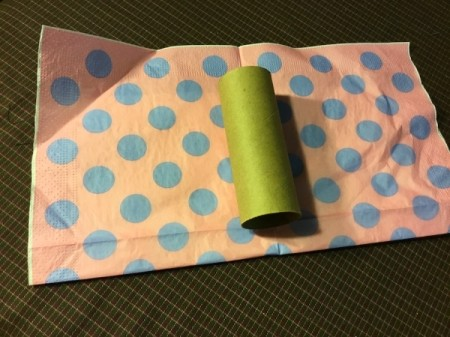 Thrifty Holiday Gift Wrapping - cardboard tube on paper napkin