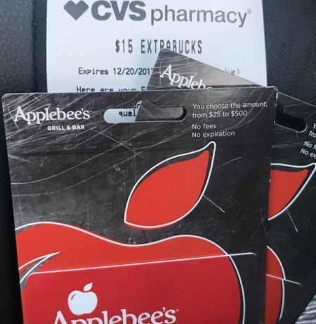 Applebee's gift cards purchased at a CVS pharmacy.