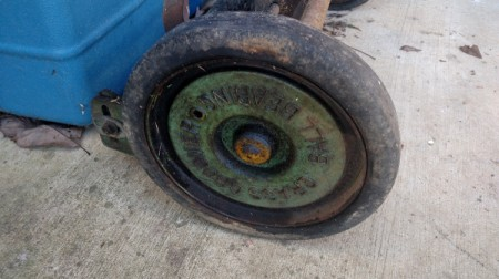 Value of an Old Reel Mower - closeup of outside of wheel