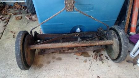 Value of an Old Reel Mower - closeup of mower below handle