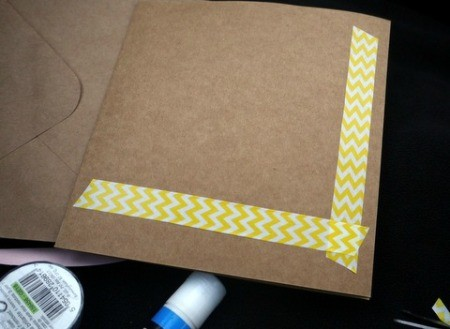 Handcrafted Greeting Card with Stickers and Tape - repeat along the bottom