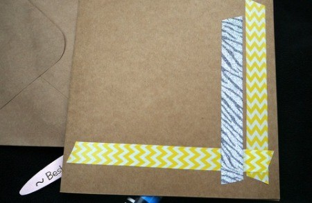 Handcrafted Greeting Card with Stickers and Tape - apply a slightly shorter piece of a new style of tape to the left of the original strip along right side