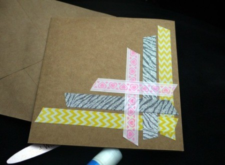 Handcrafted Greeting Card with Stickers and Tape - repeat along the right edge with a third piece of tape