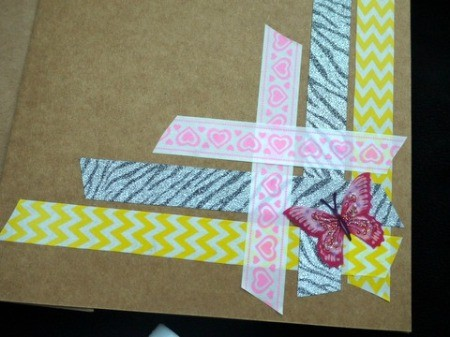 Handcrafted Greeting Card with Stickers and Tape - apply stickers in the lower right corner