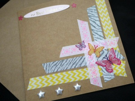 Handcrafted Greeting Card with Stickers and Tape - added greeting glued on and stars along the bottom left of the decorative tape