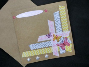 Handcrafted Greeting Card with Stickers and Tape - closeup of finished card