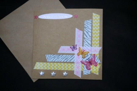 Handcrafted Greeting Card with Stickers and Tape - finished card