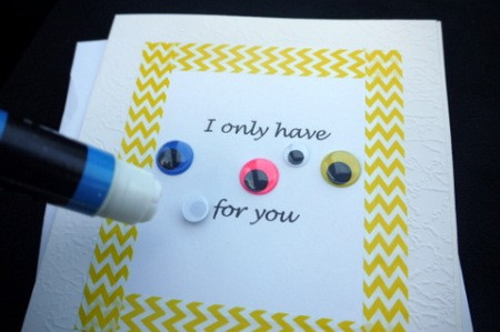 Eyes for You Greetings Card - attach wiggle eyes, use glue if necessary