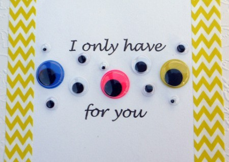 Eyes for You Greetings Card - using different sizes and colors of eyes