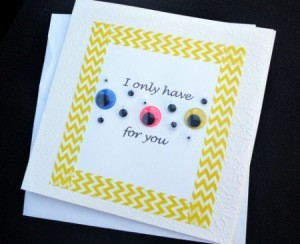 Eyes for You Greetings Card - finished card and envelope