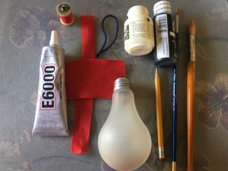 Upcycled Light Bulb Penguin - supplies