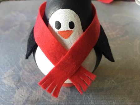 Upcycled Light Bulb Penguin - glue scarf on hiding top of flippers