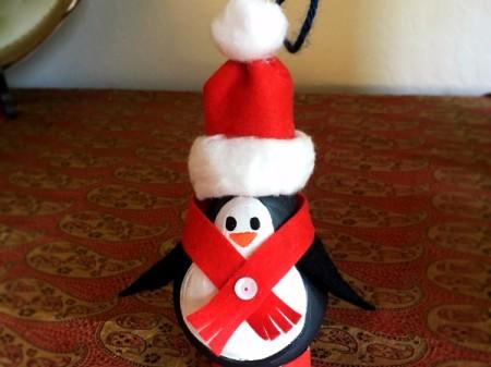 Upcycled Light Bulb Penguin - embellishment on scarf