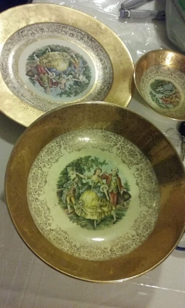 Determining the Value of China Plates - gold trimmed china plates with painted people in center & Appraising China | ThriftyFun