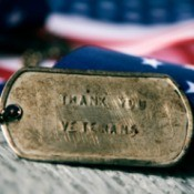 Dog tag saying Thank You Veterans