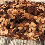 Chocolate Almond Topped Banana Bread on rack