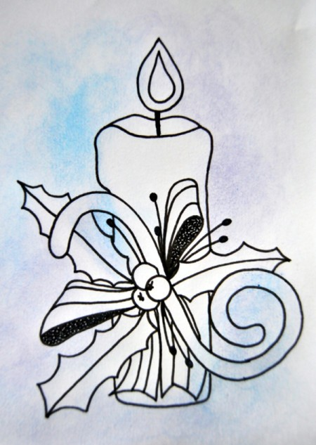 Candle of Light Christmas Card - begin coloring the candle with pencils and smudge background