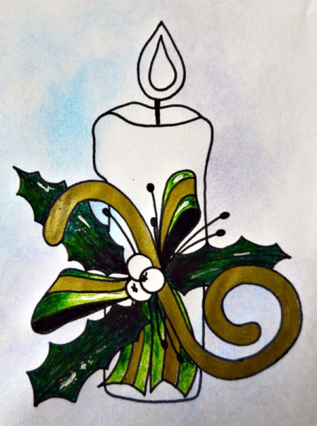 Candle of Light Christmas Card - color leaves