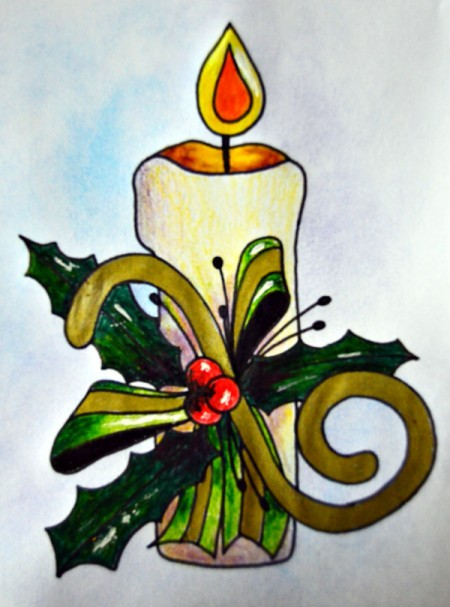 Candle of Light Christmas Card - finish coloring