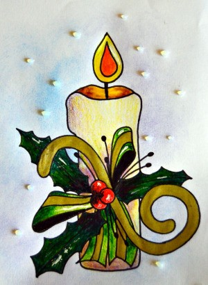 Candle of Light Christmas Card - add Dimentional Magic to background