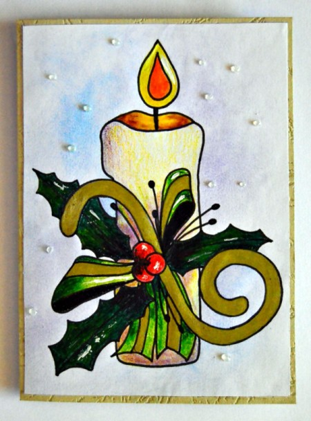 Candle of Light Christmas Card - glue finished design to front of card