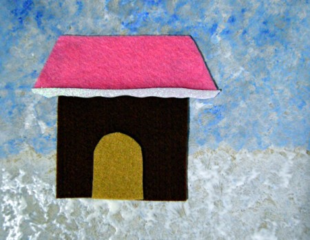 Gingerbread House Christmas Collage - house with door, roof and snow added