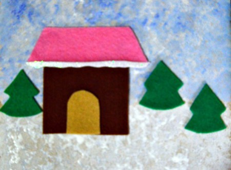 Gingerbread House Christmas Collage - felt trees