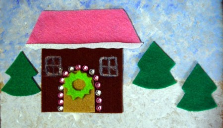Gingerbread House Christmas Collage - add rhinestones for lights, glue on wreath, and draw a window