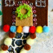 Gingerbread House Christmas Collage - closeup of house with pom poms, and path, and wreath details