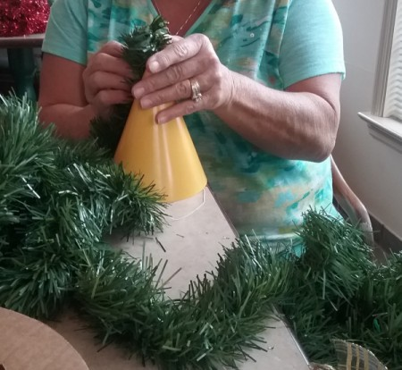 Christmas Tree Table Decoration - starting to  wrap hat