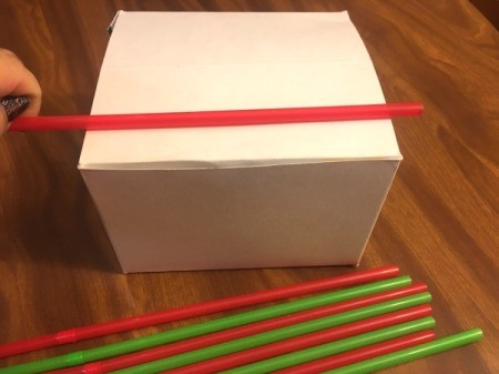 3D Straw Christmas Tree Gift Box - measure straws, bottom one should be as wide as box