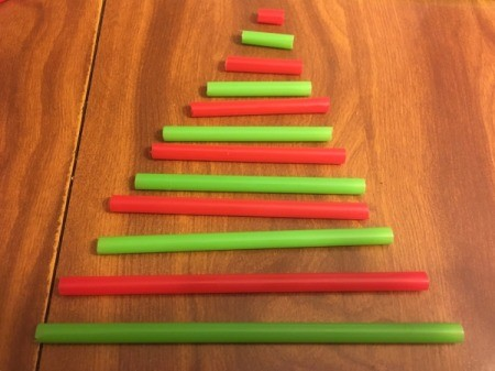 3D Straw Christmas Tree Gift Box - cut in alternating colors in tree shape lengths