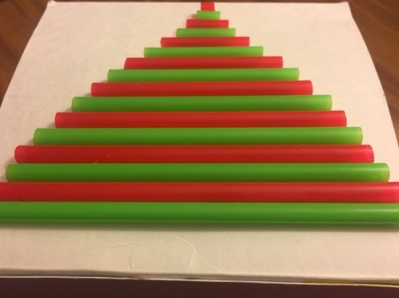 3D Straw Christmas Tree Gift Box - glue straws to box leaving space for a trunk